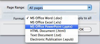 set output format to start scanned pdf to txt conversion on mac