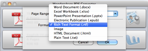 choose output format to start pdf to rtf conversion mac