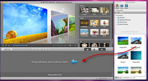 add media files to create slideshows on mac
