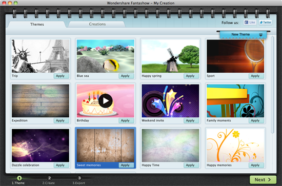 choose a theme to create a slideshow on mac