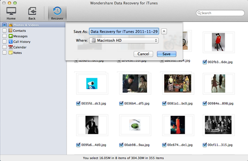 set a destination to retrieve iphone call history from itunes on mac