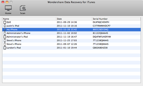 select your iphone to retrieve iphone lost messages from itunes on mac