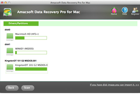 select drive or device to recover deleted movies on mac