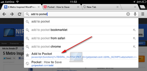 use bookmarklets in chrome for ios