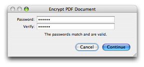 enter a password to protect pdf