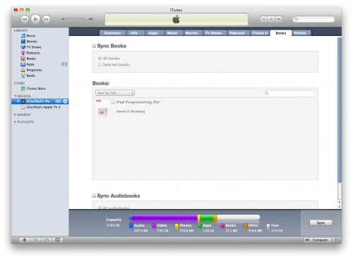 import and sync books to ipad through itunes