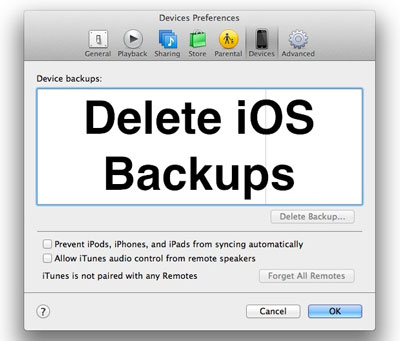 how to remove itunes backup of an ipad