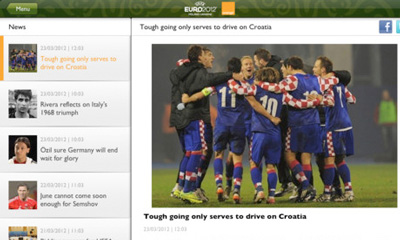 helpful app to get real time news of european football championship in 2012
