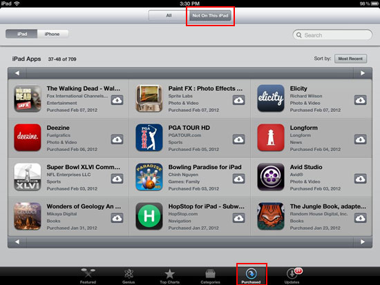 restore deleted apps on your ipad from purchased tab