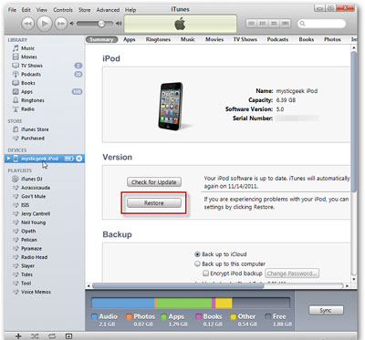 how to restore ipod touch to factory settings