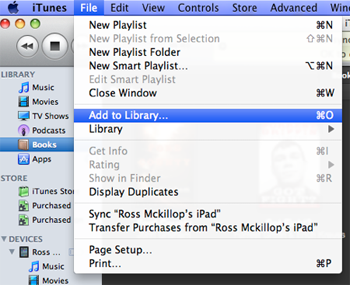 add pdf files to itunes library