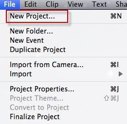 create new project to edit videos on imovie