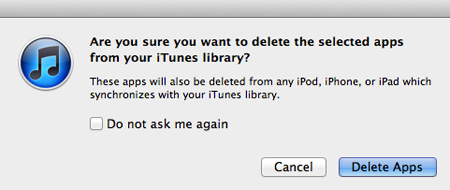 press delete apps button to remove unwanted apps from itunes