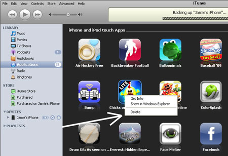 remove unwanted apps from itunes
