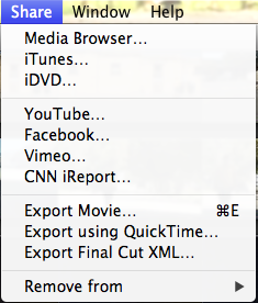 imovie share options