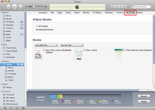 transfer pdf books to ipod touch via itunes