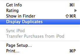 display and delete duplicate items from itunes