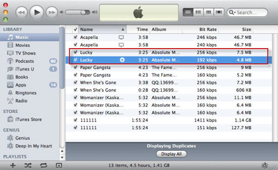 remove duplicate files from itunes
