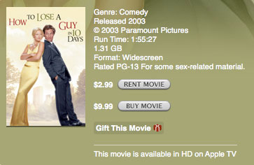renting movie from itunes library
