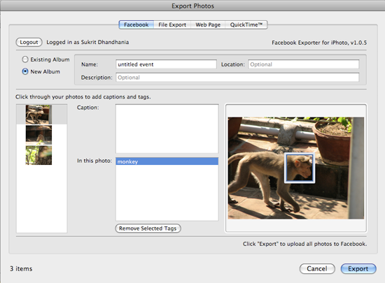 export and publish iphoto images to facebook