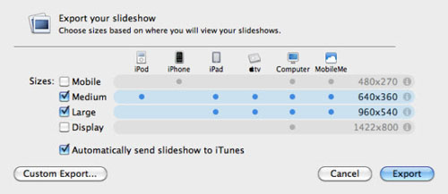export iphoto slideshow to apple tv