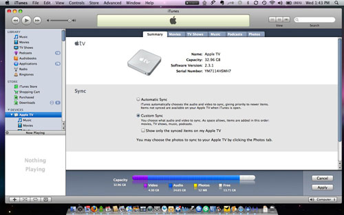 sync iphoto slideshow to apple tv
