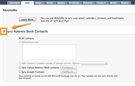 move iphone contacts to ipad on mac with the itunes help