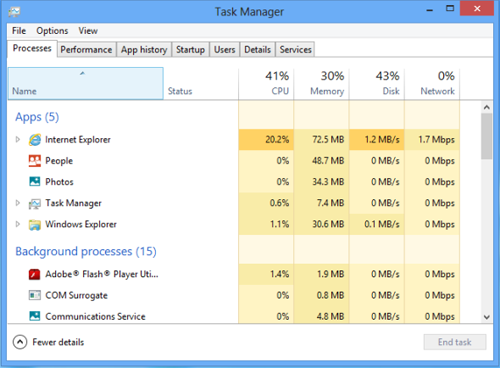 manage task in windows 8