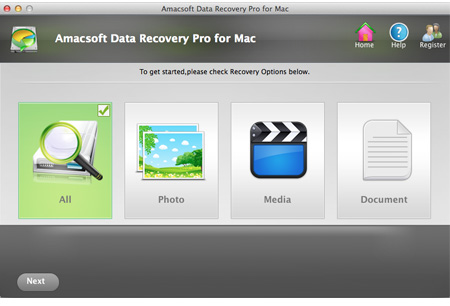 data recovery on mac main screen